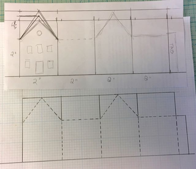 Original drawing to make a simple paper house pattern