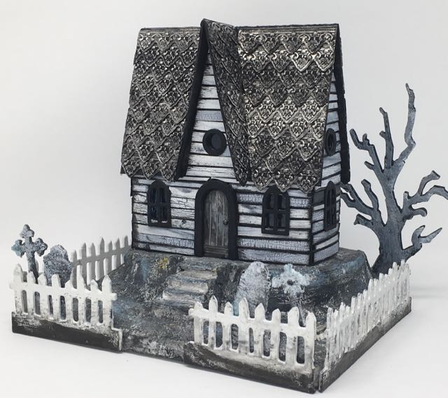 Silver Roof Haunted Halloween House front view - made with metallic embossed strips cut with a Sizzix die #halloween #putzhouse #papercraft