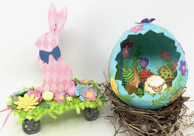 Easter Bunny Pull Toy and paper Mache Easter Egg Spring Crafts