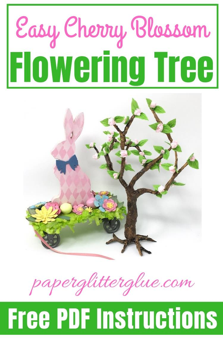 Bunny pull toy and Cherry Blossom Flowering Paper tree
