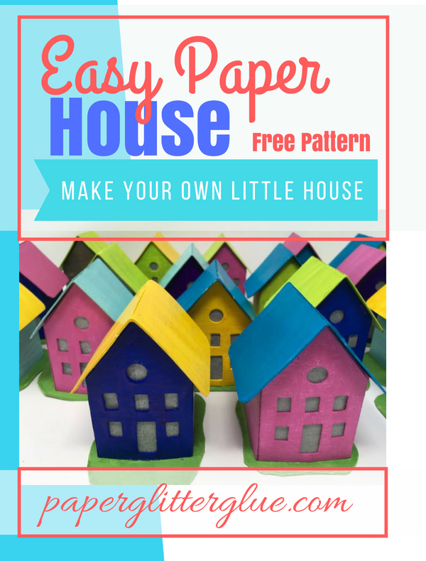 Easy Paper House Free pattern for how to make your own paper house | Putz House tutorial | Make a Christmas village