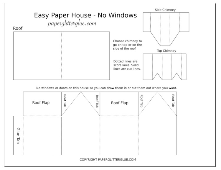 Easy Paper House pdf printable pattern template