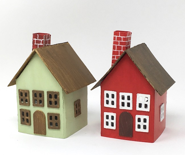 Easy Paper Houses with windows and chimney