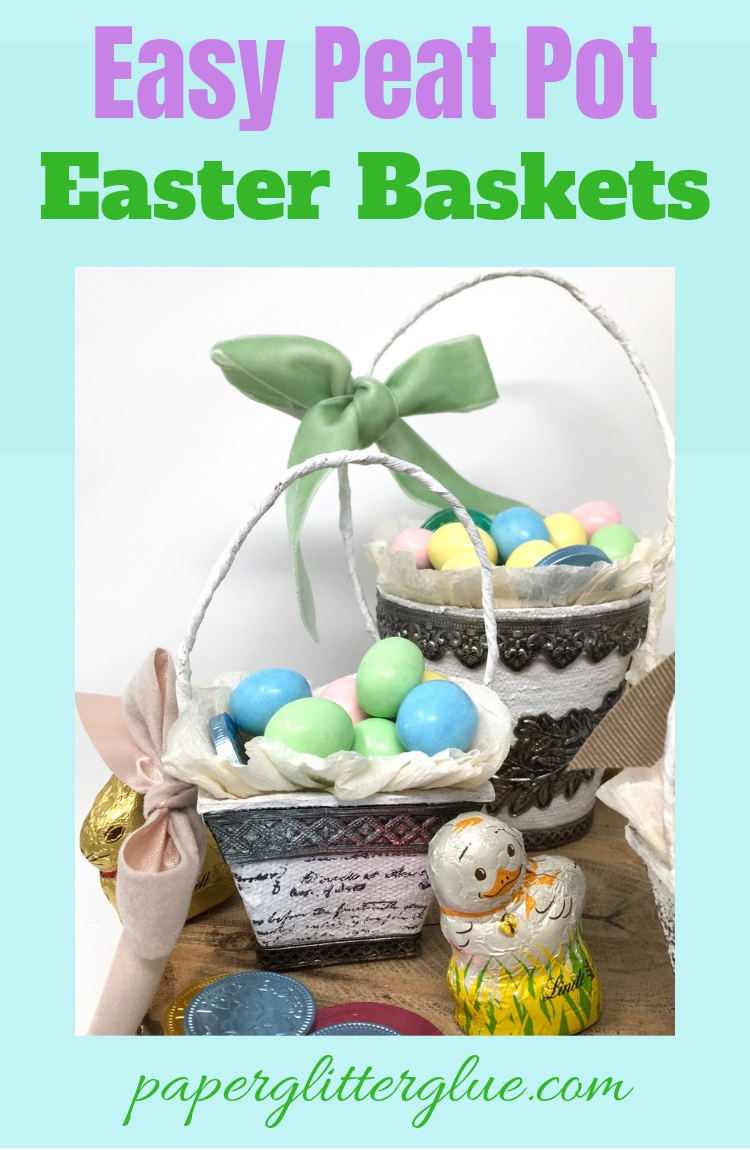 Miniature peat pot Easter baskets filled with candy eggs and chicks