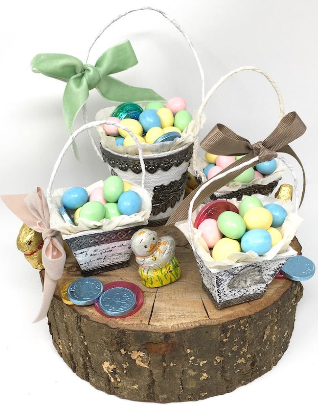 Easy Peat pot Easter baskets bows and candy