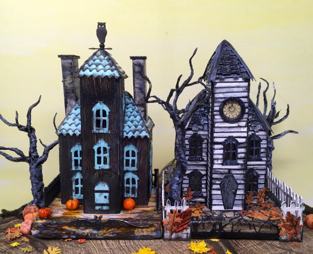 Ebonywood Mansion paper house twin chimneys