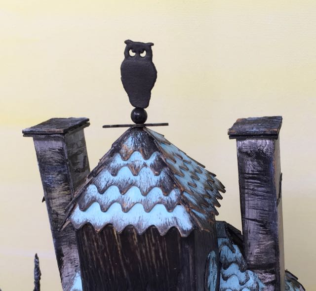 Ebonywood Owl weathervane on paper house