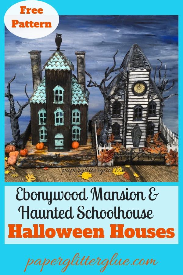 Ebonywood and Haunted Schoolhouse Halloween Houses |Halloween glitter houses |Halloween decor| DIY Halloween craft