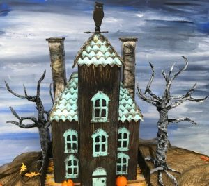 Ebonywood Mansion paper house showing wood texture