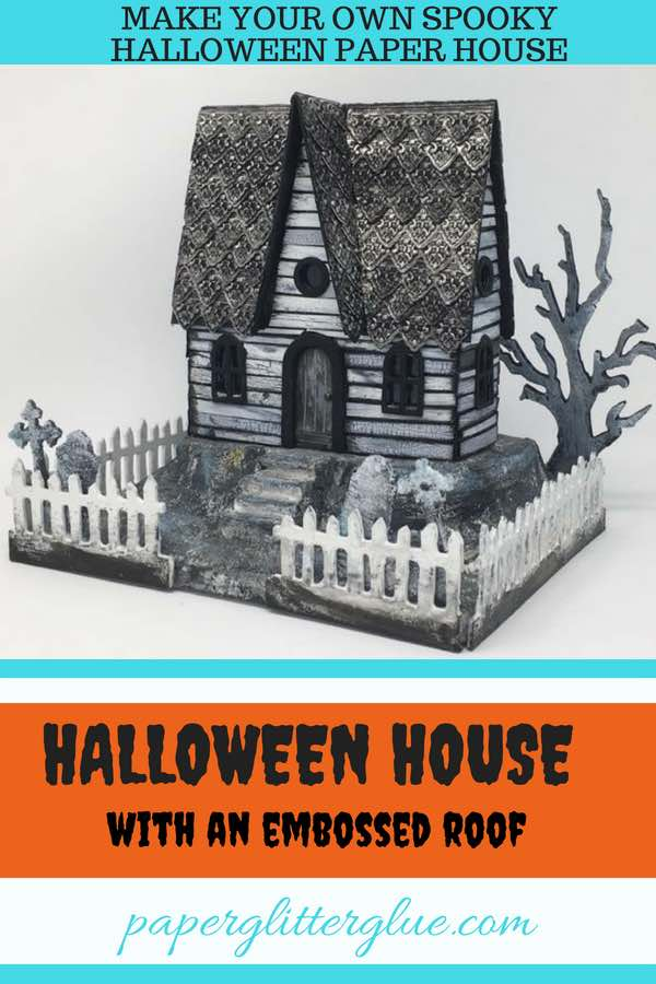 Embossed Roof Halloween Paper House made with embossed metallic strips for the roof and crackle paint siding #putzhouse #halloween #papercraft