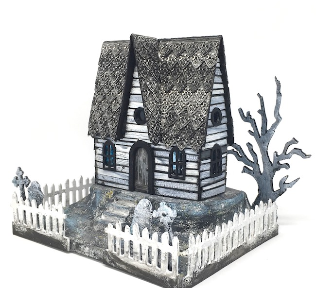 Embossed roof Halloween house with lots of distressed techniques