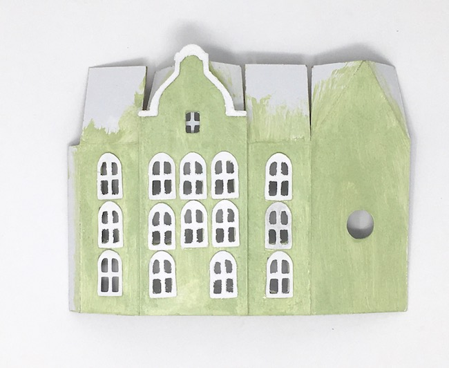 Facade no 2 painted Amsterdam Canal Putz house template