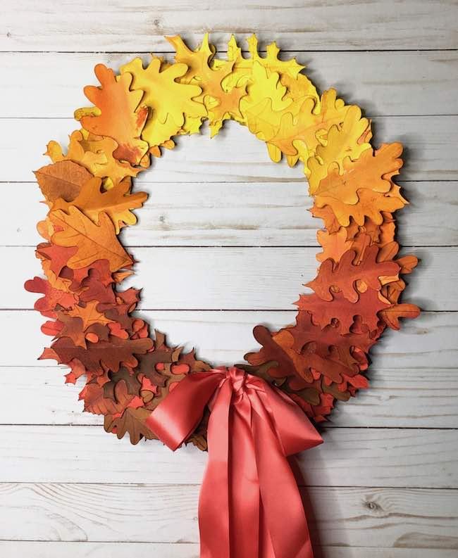 Fall paper leaf wreath
