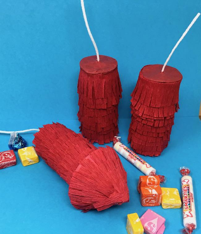 Firecracker pinatas with pull tabs