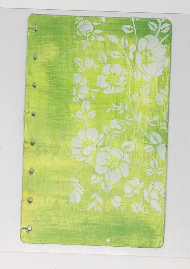 Flower stencil background journal cover