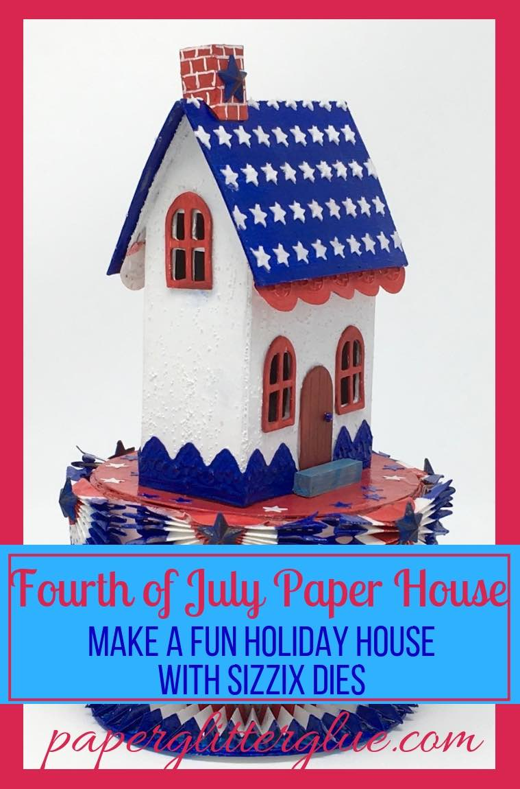 Side view of the Starry Patriotic Putz House with decorative bunting star stencil roof