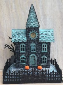 Front Stone Stencil Clock House little cardboard house