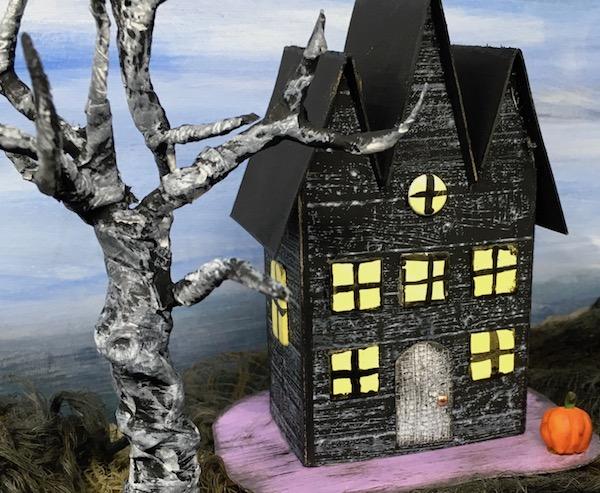 Triple Gable Gothic Halloween paper house #diyhalloween #halloweenhouse #paperhouse