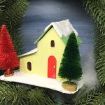 Front angle view of the Split level Christmas putz house #paperhousepatterns #putzpatterns #printabletemplate