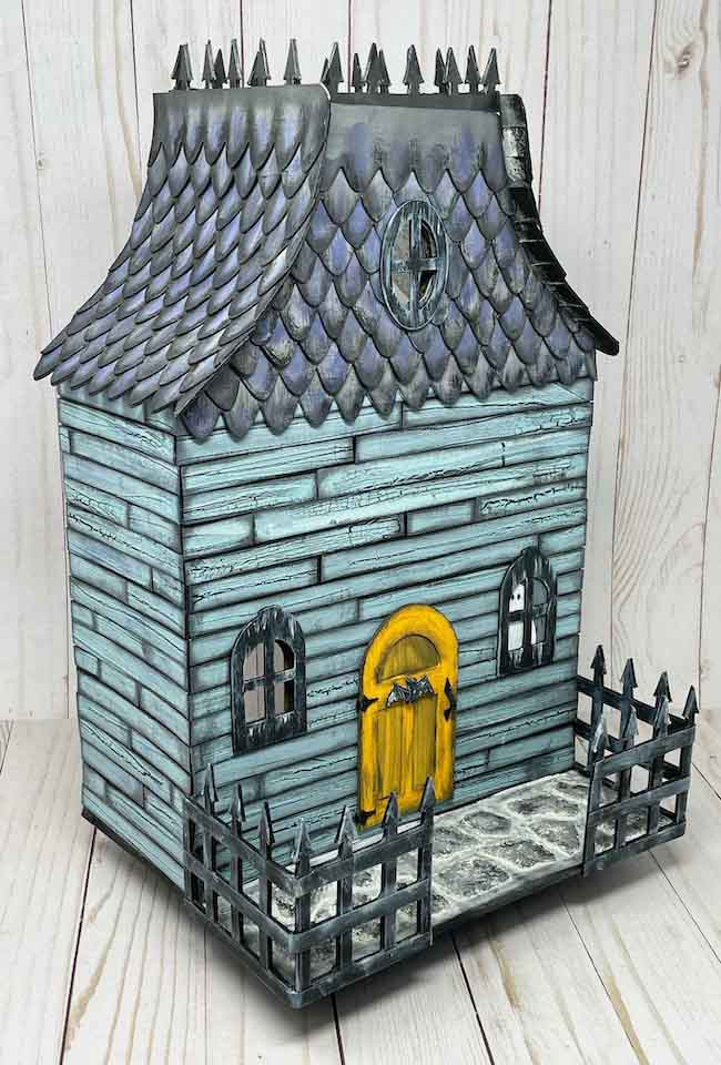 Front angled view Halloween dollhouse