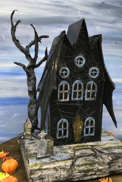 Front Bat Wing Halloween Paper House #halloweenhouse #cardboardhouse #putzhouse #halloweendecor