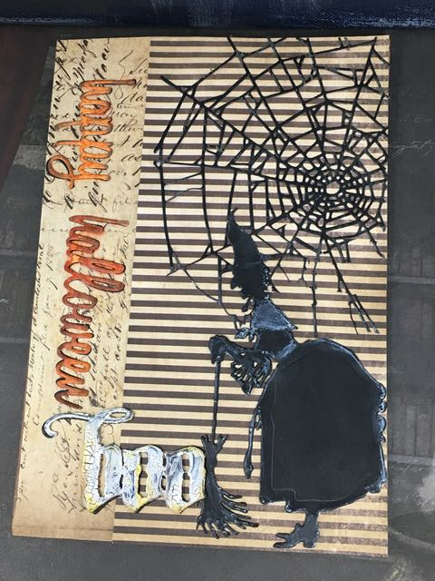 Decorations on the front of Halloween Village Dwelling Pop-up card #popupcard #halloweencard #timholtz #villagedwelling