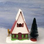 Front view of the miniature Swiss Chalet Christmas Putz house you can make easily for your Christmas village