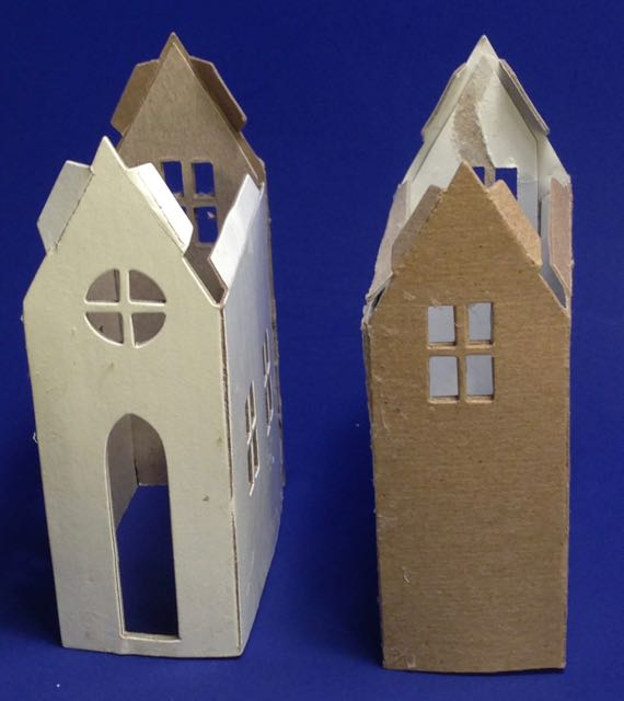 Comparison of the Village Brownstone paper house die cut front and back pieces