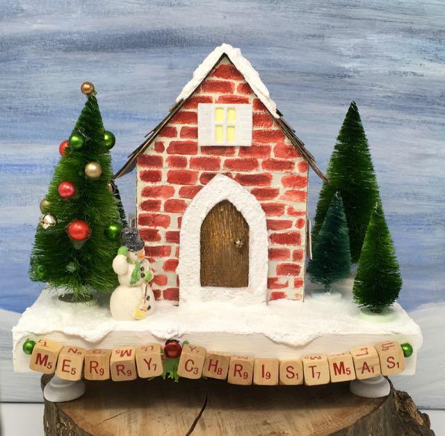 Outside view Miniature Christmas House Shadow Box
