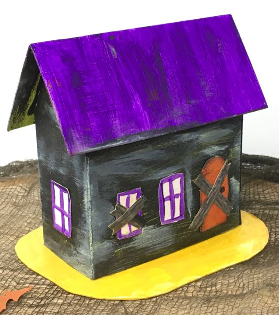 Front purple roof Halloween Paper hosue no2