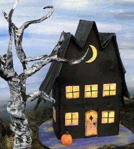 Front Bat Wing Halloween Paper House #halloweenhouse #paperhouse #diyhalloween