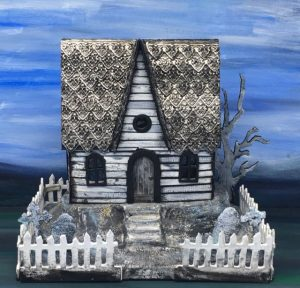 Embossed Roof Halloween Paper House made with Tim Holtz Sizzix Impresslit dies and crackle paint siding #putzhouse #halloween #papercraft