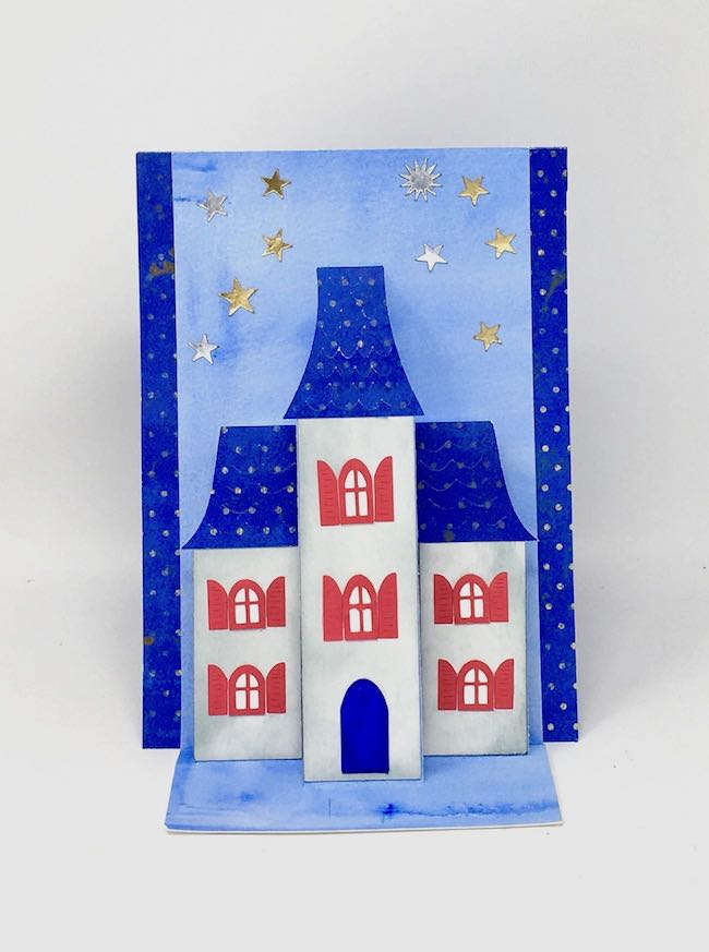 Front view of Holiday House Pop Up Card