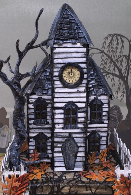 Front willow Haunted Schoolhouse Putz house #putzhouse #halloweendecor #papercraft