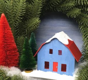Frosty Barn Christmas Putz House with three bottle brush trees instructions and free pattern to make this little Putz house