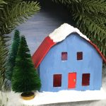 Frosty Barn Christmas Putz house in Christmas wreath - a little cardboard house to make for Christmas