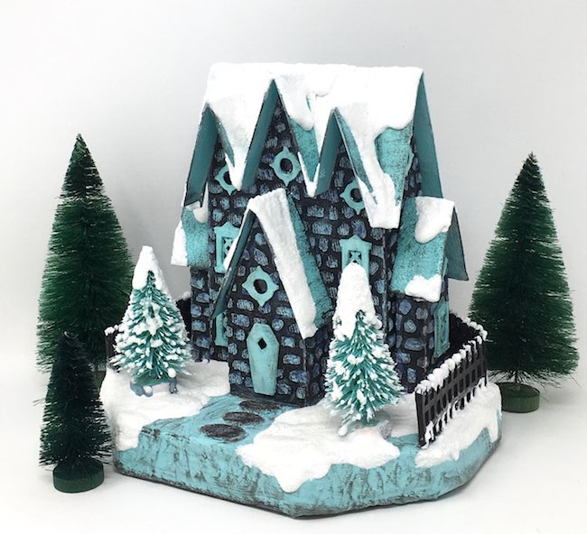 Frosty version of the Stone House with snow on all the gables with a sprinkling of light glitter.