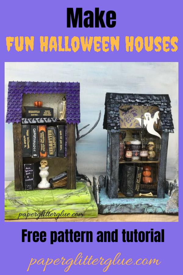 Pattern and tutorial to make a two-sided miniature Halloween house with lots of fun Halloween decor #putzhouse #halloweenhouse #papercraft
