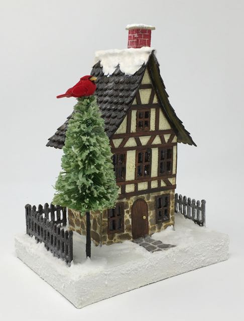 German Half-Timbered Christmas Paper House #putzhouse #glitterhouse #christmasvillage #papercraft