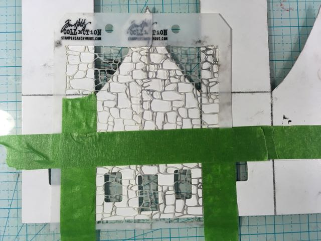 Tim Holtz Mini Stone Stencil to make stone foundation on paper house #timholtz #paperhouse #putzhouse #papercraft
