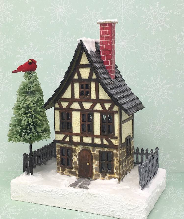 German Half Timbered paper house for Christmas Village with bottlebrush tree