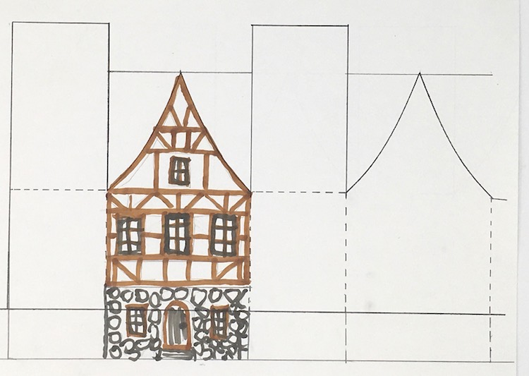 German Half Timbered paper house inspiration drawing