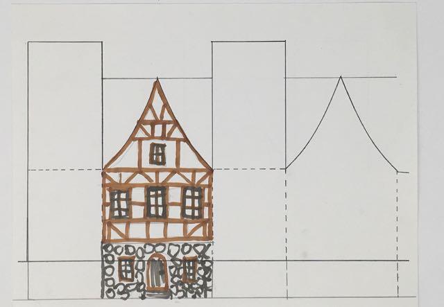 Christmas paper house based on German half-timbered houses #putzhouse #glitterhouse #christmasvillage #papercraft