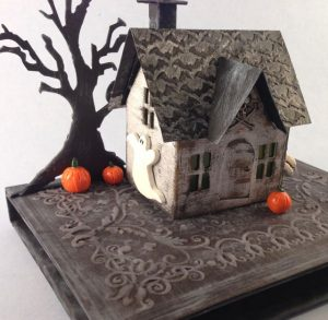 Ghost side view of Halloween Village Dwelling