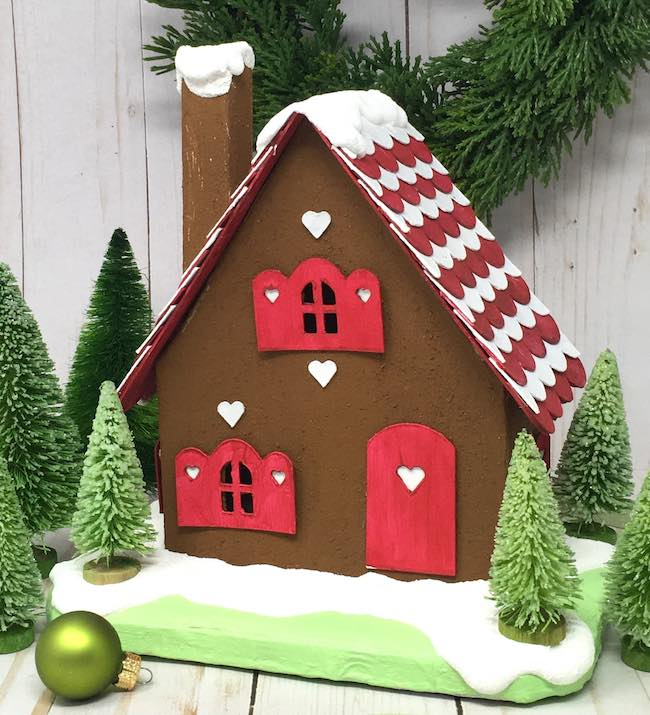 Gingerbread Cardboard Cottage with red and white shingles