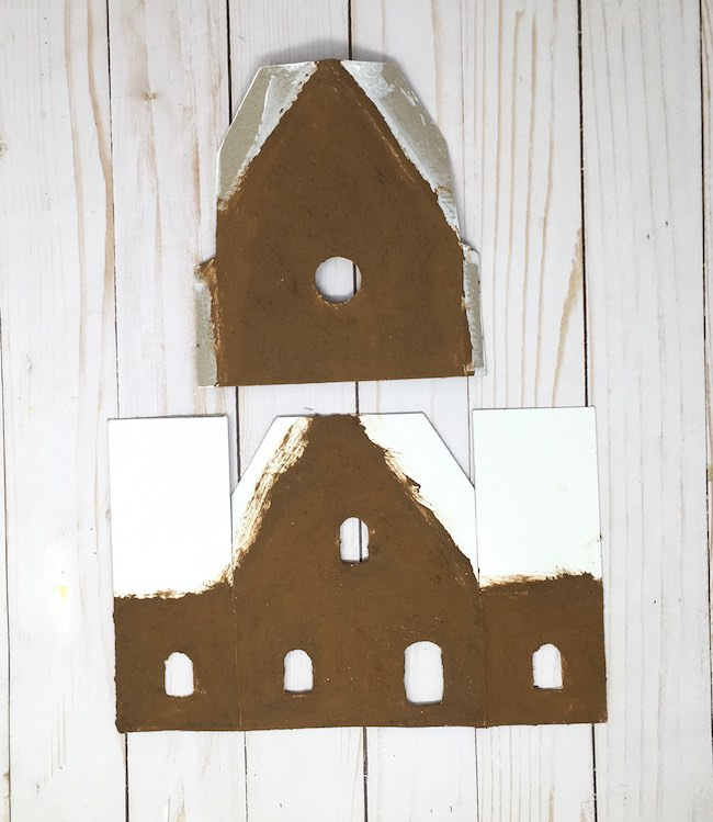 Gingerbread paint on paper gingerbread house