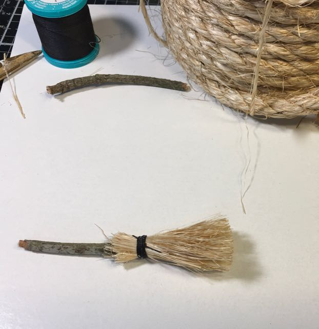 Now trim the sisal fibers to make your miniature DIY broom more civilized
