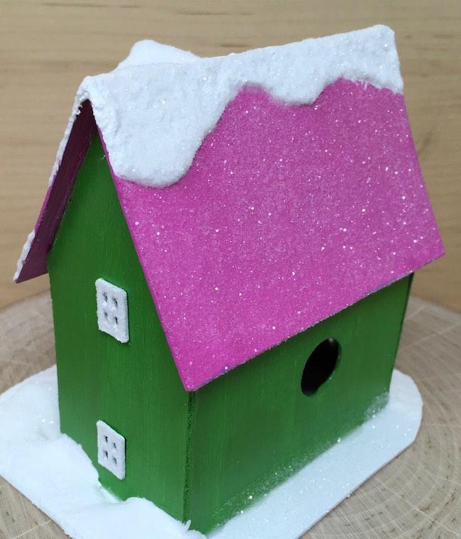 Glittered roof barn shape front gable christmas house