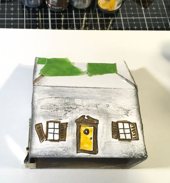 Glue Halloween paper house 2 together