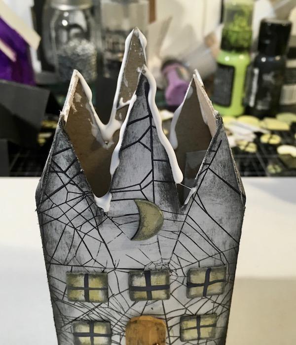 Glue bead on Halloween Triple Gable Gothic paper house #diyhalloween #halloweenhouse #paperhouse